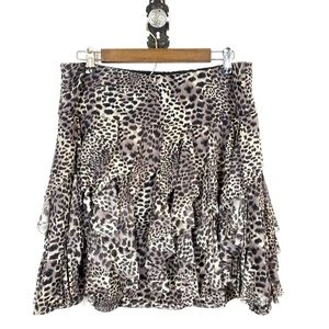 INC International Concepts Ruffled Cheetah Skirt L